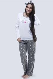 Meow női pizsama, fehér