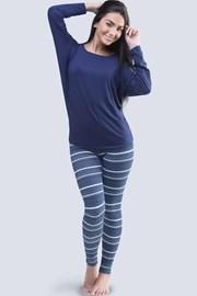 Winter női pizsama, denevér ujjakkal, kék