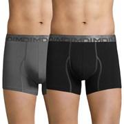 DIM Cotton 3D Flex férfi boxeralsó, fekete és szürke, 2 db-os csomagolás
