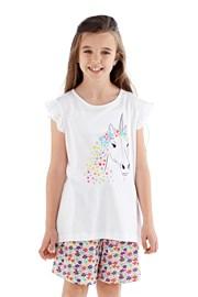 Polly lányka pizsama, rövid, fehér