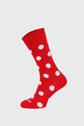 Fusakle zokni piros, fehér pöttyös
