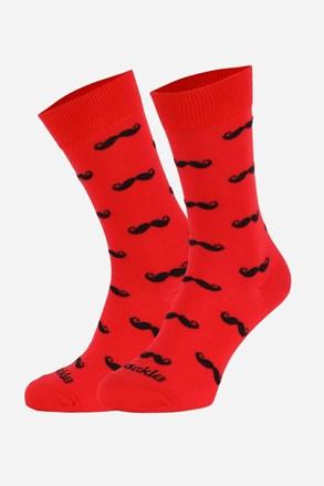 Fusakle zokni piros, bajuszokkal