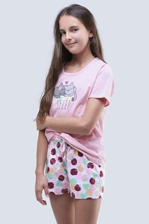 Cats nyári lányka pizsama, rózsaszín