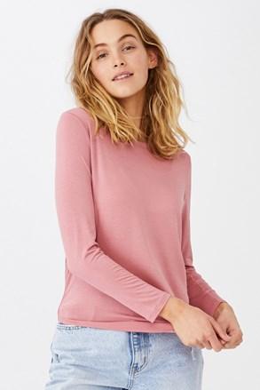 Kathleen női hosszú ujjú basic póló, rózsaszín
