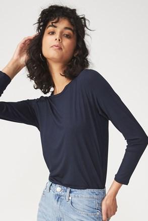 Kathleen női hosszú ujjú basic póló, kék