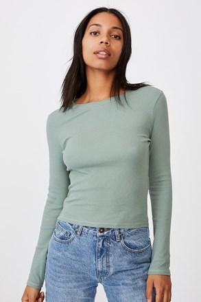 Turn hosszú ujjú női basic póló, zöld