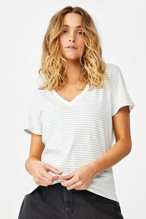 One női rövid ujjú basic póló, csíkos
