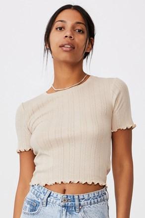 Pointelle Crop női rövid ujjú bézs póló