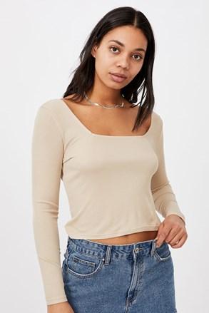 Serena hosszú ujjú női basic póló, bézs