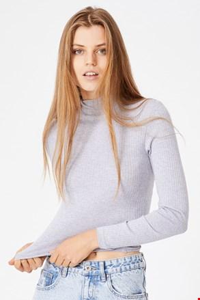 Mila női basic póló garbóval, szürke