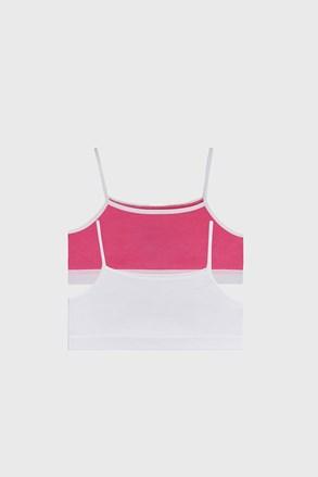 2 DB basic lányka top, fehér-rózsaszín
