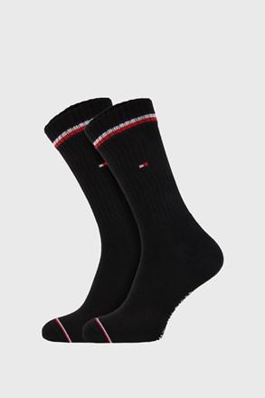 2 PÁR fekete magas szárú zokni Tommy Hilfiger Iconic