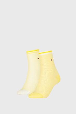2 PÁR Tommy Hilfiger Honeycomb Yellow női zokni