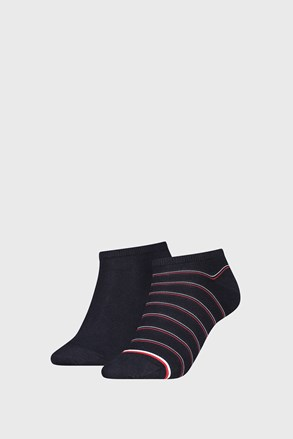 2 PÁR Tommy Hilfiger Preppy Navy női zokni