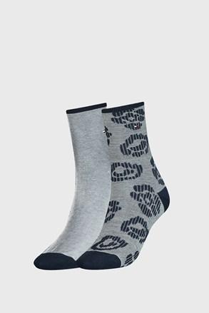 2 PÁR Tommy Hilfiger Flower kék női zokni