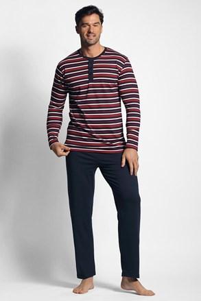 Piros-kék színű csíkos mintás pizsama