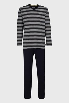 Sötétkék csíkos mintás férfi pizsama