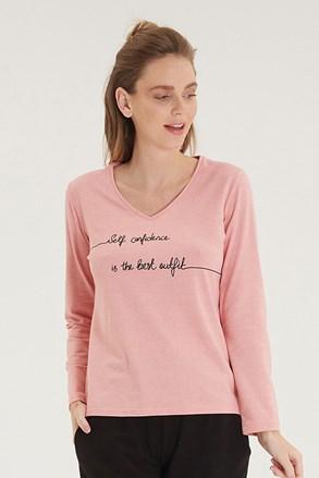 Női hosszú ujjú póló, rózsaszín
