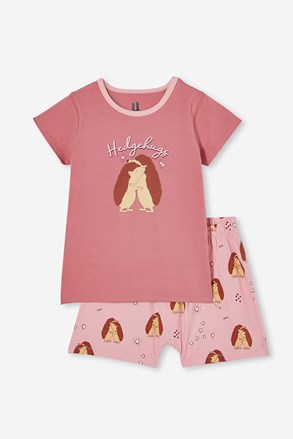 Hedgehog hugs lányka pizsama, rövid