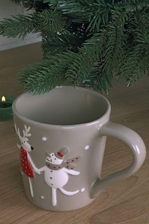 Rénszarvas és hóember karácsonyi bögre
