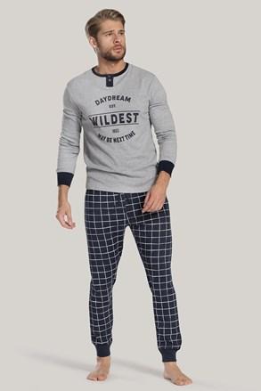 Szürke-kék férfi pizsama felirattal