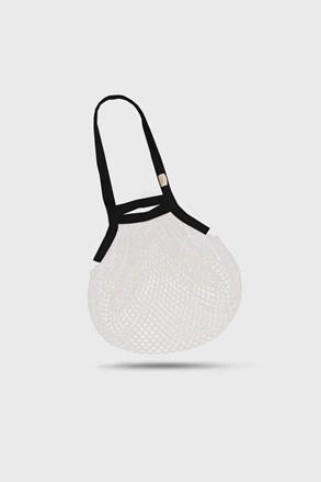 Fehér-fekete hálós táska, vállon hordható, cseh termék