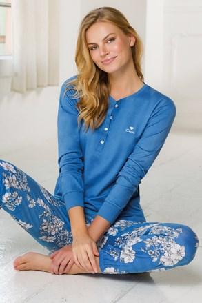 Női kék pizsama szett, hosszú