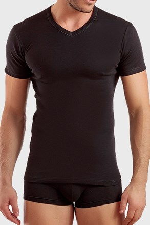V neck férfi póló fekete