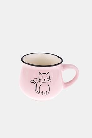 Kerámia bögre cicával, rózsaszínű, 213 ml