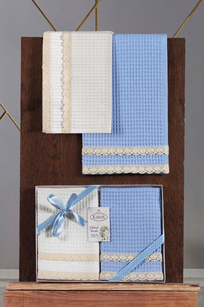 Gofri mintás konyharuhák ajándékszettben, kék