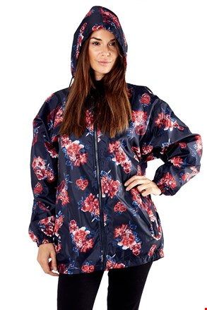 PROCLIMATE Floral vízálló dzseki, zsebébe elcsomagolható