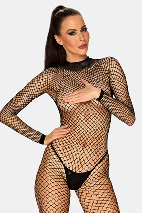 Obsessive Caught in sexy net bodystocking