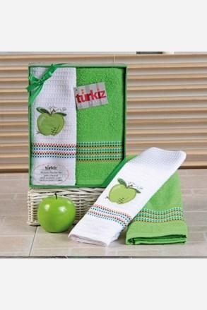 Mimosa ajándékszett, törölköző és konyharuha, alma