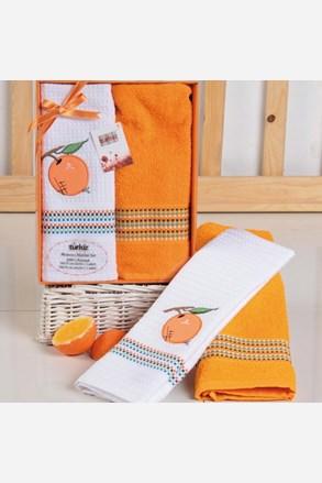 Mimosa ajándékszett, törölköző és konyharuha, narancs