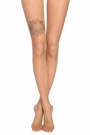 Női harisnyanadrág, combrészen tetoválás utánzattal, 20 DEN