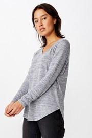 Karly női hosszú ujjú basic póló, szürke
