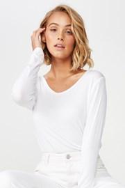 Karly női hosszú ujjú basic póló, fehér
