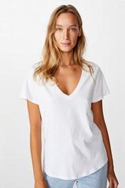 One női rövid ujjú basic póló, fehér