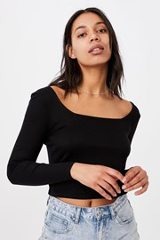 Serena hosszú ujjú női basic póló, fekete