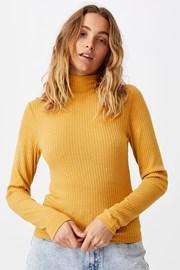 Mila női basic póló garbóval, mustársárga