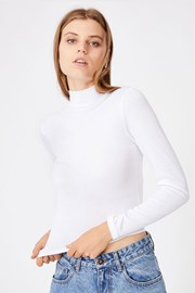 Mila női basic póló garbóval, fehér