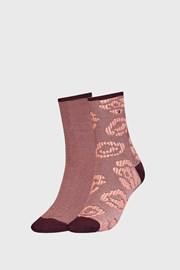 2 PÁR Tommy HilfIger Flower barna női zokni