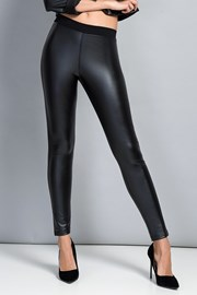 Fekete női leggings, sima felüleű