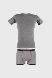 Fiú szürke alsónemű szett, póló és boxeralsó