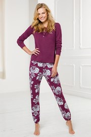 Női bordó pizsama szett, hosszú