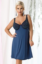 Marie Navy blue női hálóing, merevítőkkel