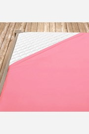 Világos rózsaszínű pamut jersey gumis lepedő