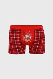 Piros karácsonyi boxeralsó Reindeer