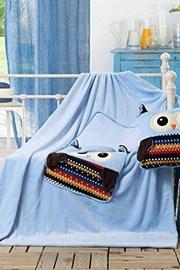 Gyermek kispárna és pléd 1-ben, Bagoly kék