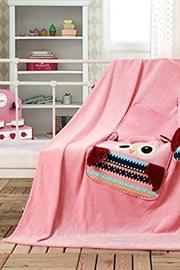 Gyermek párna és pléd 1-ben, Bagoly rózsaszín